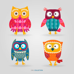 Wall Murals Owls cartoon Cute artistic owls vector set