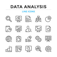Data analysis line icons set. Modern outline elements, graphic design concepts, simple symbols collection. Vector line icons