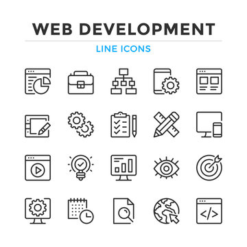 Web development line icons set. Modern outline elements, graphic design concepts, simple symbols collection. Vector line icons
