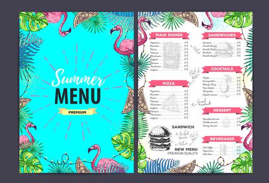 Restaurant summer menu design with tropic leaves. Fast food menu