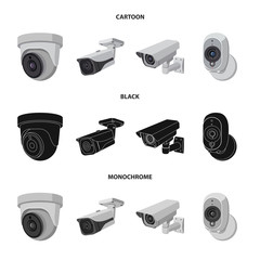 Vector illustration of cctv and camera icon. Set of cctv and system stock vector illustration.