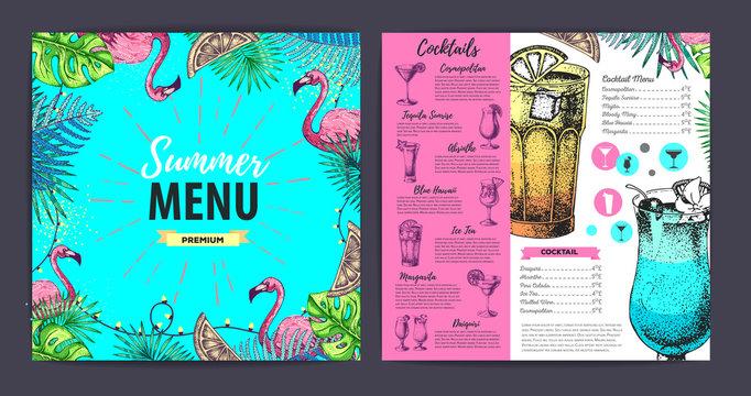 Restaurant summer cocktail menu design with tropic leaves. Fast food menu