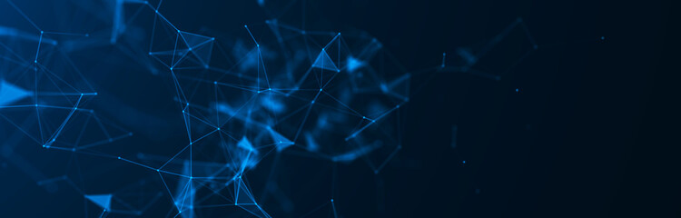 Abstract blue digital background. Big data visualization. Science background. Big data complex with compounds. Lines plexus.
