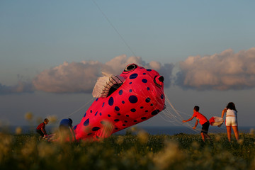 Children help to land a kite during the International Kite and Wind festival outside the village of Gharb, on the island of Gozo