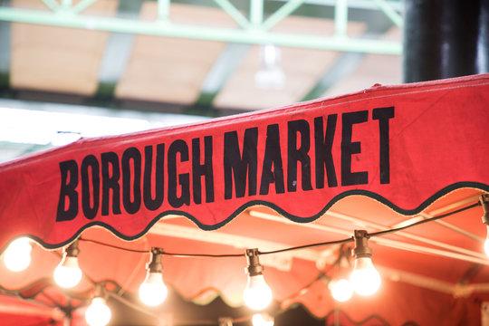 Sign of Borough Market on the Umbrella