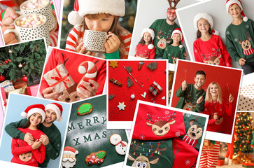 Collage with beautiful Christmas photos