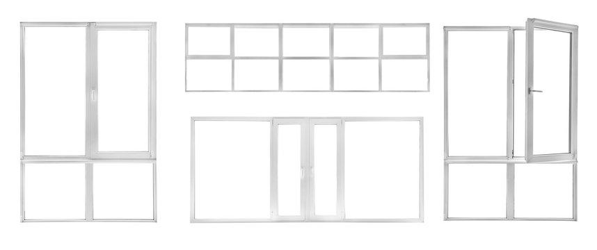 Different modern metal-plastic windows on white background