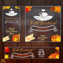 Set of Autumn Fall Sale Timeline Cover. Web banners with leaves elements and lettering. Standard size templates with color elements. Design for a social network, business, advertising.