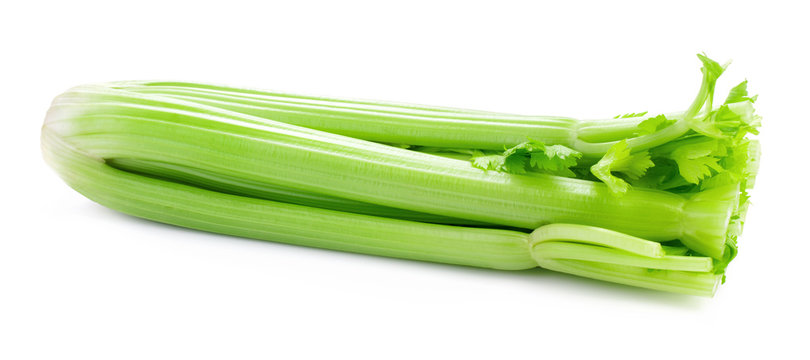 bunch of green celery isolated on white background