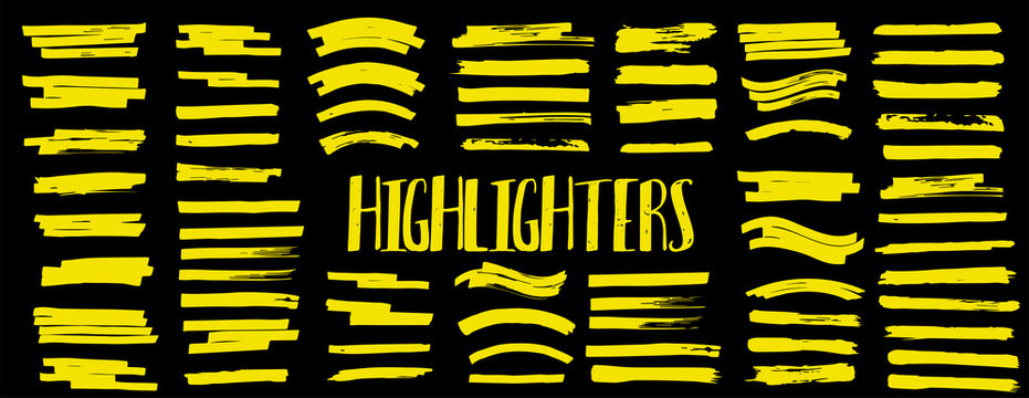 Set Highlighters. Vector brushes lines. Marker color stroke. Yellow watercolor hand drawn highlight set. Vector graphic stylish element. Brush pen hand drawn underline. Marker lines collection