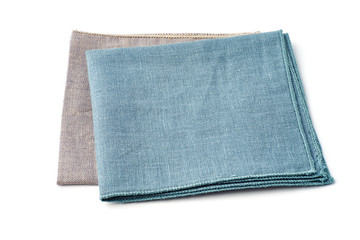 Turquoise and gray textile napkins on white