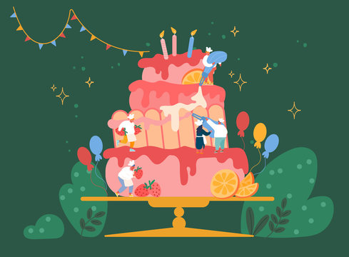 People Cook Festive Cake with Cream and Strawberries. Characters in Chef Uniform and Hats Decorating Huge Pie. Teamwork, Bakery, Giant Dessert for Birthday or Wedding Cartoon Vector Illustration