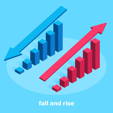 isometric vector image on a blue background, up and down arrows above chart columns, financial statistics