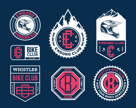 Vector enduro mountain biking adventures, parks, clubs logo, badges and icons