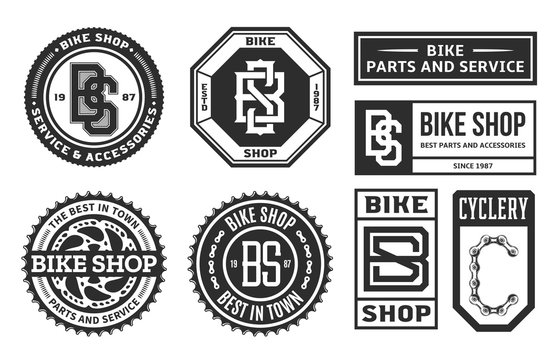 Set of vector bike shop, bicycle part and service logo, badges and icons isolated on a white background