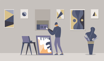 Fancy apartment robbery flat vector illustration. Thief in mask, robber opening wall safe cartoon character. Disguised criminal lock picking safebox, art gallery, museum burglary, housebreak