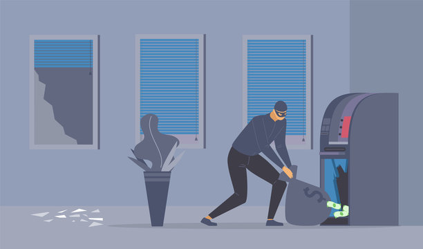Bank robbery attempt flat vector illustration. Dangerous robber with money bag, criminal in mask cartoon character. Disguised thief stealing cash from ATM machine, law violation, night burglary