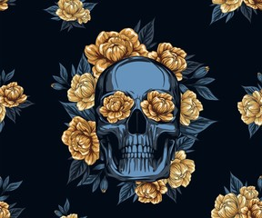 Metal Skull with  floral Golden Roses wreath, Vector illustration of Day of the Dead Dia De Muertos in Spanish Language for celebration concept poster banner design, textile pattern