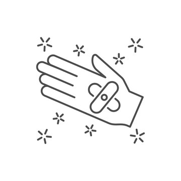 Adhesive bandage hand icon. Simple line, outline vector of hygiene icons for ui and ux, website or mobile application on white background