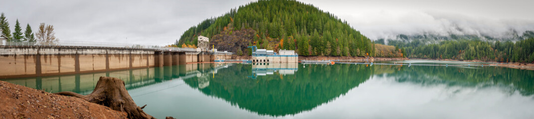 Wall Mural - Baker Lake Dam Spanning the Baker River in Northern Washington State. Construction of the dam was finished in 1959 by Puget Sound Energy as part of a power generating scheme.