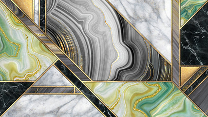 Photo sur Toile Géométriquement abstract art deco background, modern minimalist mosaic inlay, texture of marble agate and gold, artistic painted marbling, artificial stone, marbled tile surface, minimal fashion marbling illustration