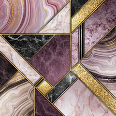 Wall Murals Geometric modern marble mosaic, abstract background, art deco wallpaper, artificial stone texture, purple gold marbled tile, geometrical fashion marbling illustration