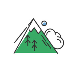 Avalanche green color icon. Sudden landslip. Unexpected snowslide, landslide. Mass of snow and ice falling down mountain side. Natural disaster. Isolated vector illustration