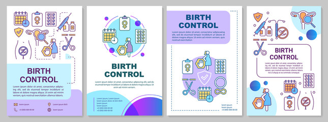 Birth control brochure template. Contraception methods. Flyer, booklet, leaflet print, cover design with linear illustrations. Vector page layouts for magazines, annual reports, advertising posters