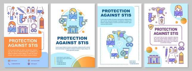 Protection against stis brochure template. Disease prevention. Flyer, booklet, leaflet print, cover design with linear illustrations. Vector page layouts for magazines, annual reports, advertising
