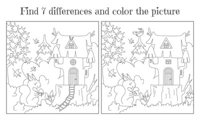 Find seven differences and paint a picture. A house on a stump in the forest and a squirrel with a nut and a mushroom. Vector
