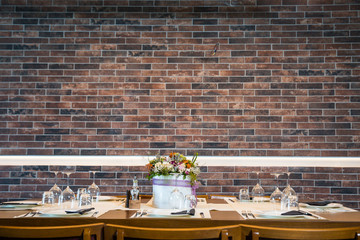 Lunch table with brick wall background