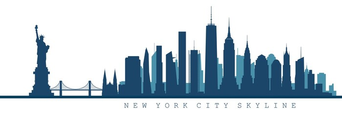 silhouette of New York city skyline Fotobehang