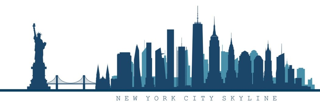 silhouette of New York city skyline