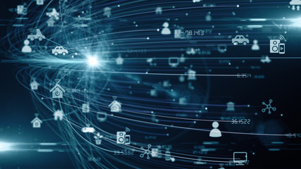 IOT mobile internet connected device network for global communication - render illustration