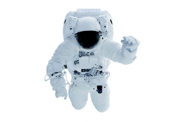 Astronaut in a darkened spacesuit waving his hand. Isolated on a white background. Elements of this image were furnished by NASA.