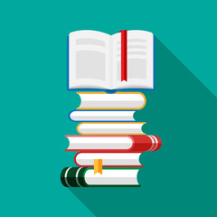 Set of book icons in flat style isolated on blue background. Vector heap of books with open book on a top. Stack of literature and documents. Publication, study, learning concept.