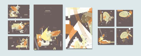 Elegant pastel muted pale calm tones card templates set