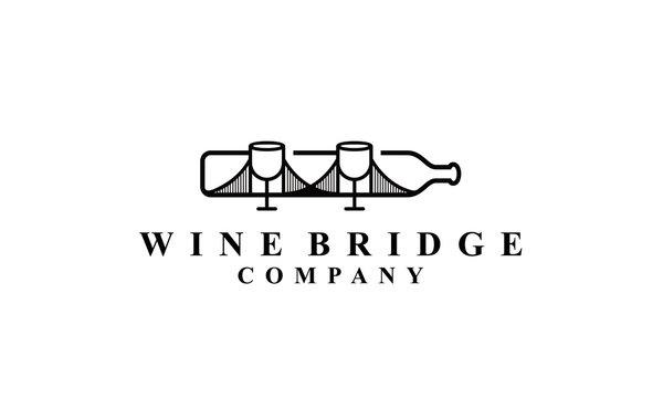 wine bridge logo Vectors Royalty design inspiration