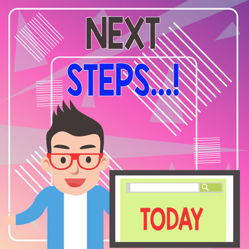 Word writing text Next Steps. Business photo showcasing something you do after you have finished doing first one Male Speaker Monitor with Search Tool on Screen Presentation or Report
