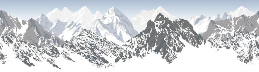 vector seamless mountains karakoram himalayan panorama background