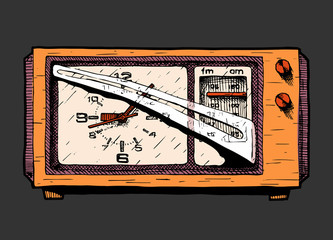 Wall Mural - Illustration of radio clock