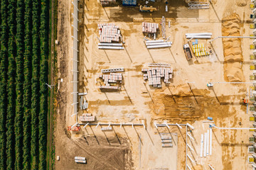 Aerial drone photography of a construction site. Europe, Poland.