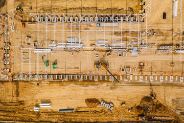 Aerial drone photography of a construction site. Europe, Poland. Wall mural