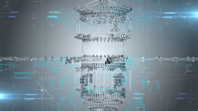 Engineering design for aeronautical aerospace industry technology development - 3D illustration rendering