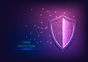 Futuristic glowing low polygonal guard shield symbol on dark blue to purple gradient background.