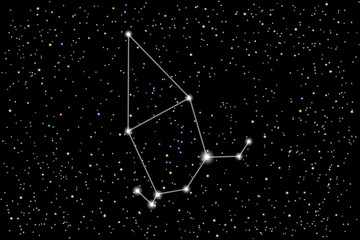 Vector illustration of the constellation Cepheus on a starry sky background. Mythical character in Greek mythology. Astronomical cluster of stars in the northern sky