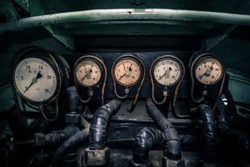 Old steam train control panel