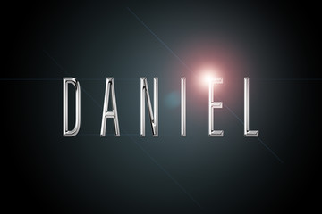 first name Daniel in chrome on dark background with flashes Fotomurales