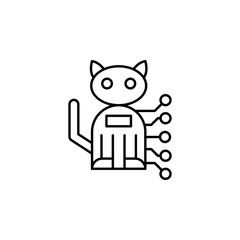 Cat robot pet icon. Simple line, outline vector of artificial Intelligence icons for ui and ux, website or mobile application