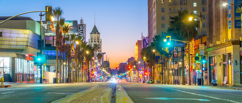 View of world famous Hollywood Boulevard district in Los Angeles, California, USA
